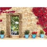 Vliesové fototapety kamenná zeď s oknem rozměr 104 cm x 70,5 cm