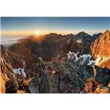 Vliesové fototapety Alpy a západ slunce rozměr 104 cm x 70,5