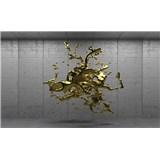 VliesovÉ fototapetY 3D zlatý abstrakt na betonovém podkladu rozměr 104 cm x 70,5 cm