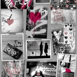 Papírové tapety na zeď Freestyle Love srdíčka červená