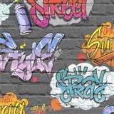 Papírové tapety na zeď Freestyle grafitti na šedé cihlové stěně