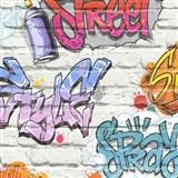 Papírové tapety na zeď Freestyle grafitti na bílé cihlové stěně