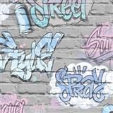 Papírové tapety na zeď Freestyle grafitti růžové na šedé cihlové stěně