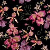 Samolepící fólie růžová orchidej černo-zlatá - 45 cm x 5 m