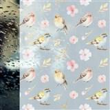 Statická fólie transparentní SPRING BIRDS - 67,5 cm x 15 m