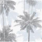 Vliesové tapety na zeď IMPOL Giulia palmy šedo-modré