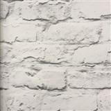Vliesové tapety na zeď Wood´n Stone cihlová zeď bílo-šedá