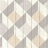 Vliesové tapety na zeď Unplagged 3D dřevěná prkna bílá, šedá, béžová