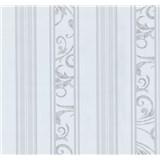 Vliesové tapety na zeď Graziosa pruhy s ornamentem bílo-šedé