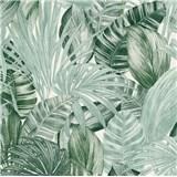 Vliesové tapety na zeď Greenery florální vzor tmavě zelený