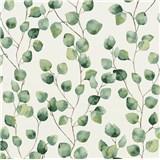 Vliesové tapety na zeď Greenery lístky břízy zelené na bílém podkladu