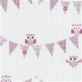 Papírové tapety na zeď Happy Kids 2 - sovy růžové