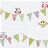 Papírové tapety na zeď Happy Kids 2 - sovy zeleno-růžové
