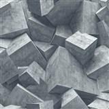 Vliesové tapety na zeď Hexagone 3D kostky světle šedé
