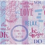 Papírové tapety na zeď It's Me Vintage Labels růžové