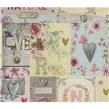 Papírové tapety na zeď Je T´aime vintage růžovo, žlutý, modrý