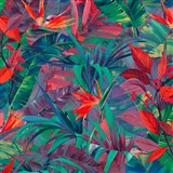 Vliesové tapety na zeď IMPOL Jungle Fever - listy červeno-zelené