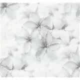 Vliesové tapety na zeď G. M. Kretschmer květy modro-hnědé - POSLEDNÍ KUSY