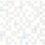 Omyvatelné vinylové tapety na zeď Bravo 3D mozaika modro-stříbrná