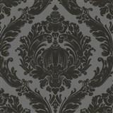 Tapety na zeď Classico - barokní vzor - černý - šedý podklad