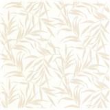 Luxusní vliesové tapety na zeď LACANTARA listy světle zlaté na bílém podkladu