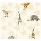 Dětské vliesové tapety na zeď Little Stars dinosauři oranžovo-hnědí