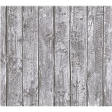 Dětské vliesové tapety na zeď Little Stars dřevěné desky šedé