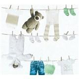 Dětské vliesové tapety na zeď Little Stars dětské oblečení modro-zelené