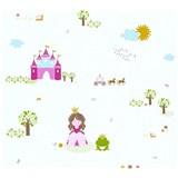 Dětské vliesové tapety na zeď Little Stars princezna a žabka na bílém podkladu