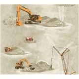 Dětské vliesové tapety na zeď Little Stars stavební stroje oranžové na hnědém podkladu