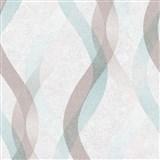 Vliesové tapety na zeď LIVIO vlnovky hnědo-modré na krémovém podkladu