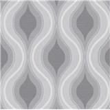 Vliesové tapety na zeď IMPOL Luna retro vlnovky šedo-bílé