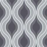 Vliesové tapety na zeď IMPOL Luna retro vlnovky černo-šedé