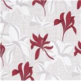 Vliesové tapety na zeď IMPOL Luna2 květy červeno-šedé na textilním podkladu se stříbrnou nití