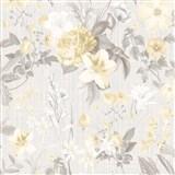 Vliesové tapety na zeď IMPOL Marbella květy světle hnědé na šedém podkladu