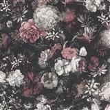 Vliesové tapety IMPOL Mata Hari květinová stěna na tmavě hnědém podkladu