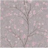 Vliesové tapety na zeď IMPOL Metropolitan Stories růžové sakury na hnědém podkladu