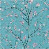 Vliesové tapety na zeď IMPOL Metropolitan Stories růžové sakury na tyrkysovém podkladu