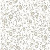 Vliesové tapety na zeď Mixing květy hnědé na bílém podkladu