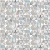 Vliesové tapety na zeď Modern trojúhelníky šedo-modré se vzorem