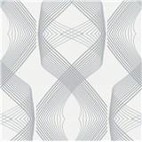 Vliesové tapety na zeď Natalia 3D geometrický vzor šedý na bílém podkladu