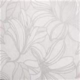 Vliesové tapety na zeď Natalia velké květy bílé s hnědými konturami