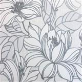 Vliesové tapety na zeď Natalia velké květy s šedými konturami na bílém podkladu