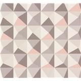 Vliesové tapety na zeď NENA kaleidoskop růžovo-šedý