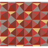 Vliesové tapety na zeď NENA 3D vzor červeno-šedý