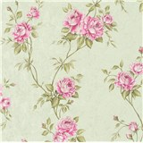 Vliesové tapety na zeď IMPOL Romantico popínavé růže zeleno-růžové na zeleném podkladu
