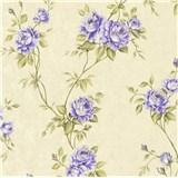 Vliesové tapety na zeď IMPOL Romantico popínavé růže zeleno-fialové na krémovém podkladu
