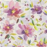 Vliesové tapety na zeď Nizza květy fialové se zelenými lístky - POSLEDNÍ KUSY
