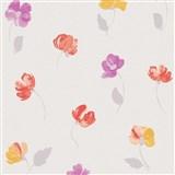 Vliesové tapety na zeď Nizza drobné květiny fialové, červené, žluté