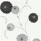 Vliesové tapety na zeď Novara květy černé - POSLEDNÍ KUSY